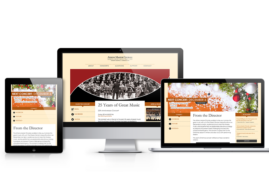 Athens Master Chorale web design on iPad, laptop, and desktop screens