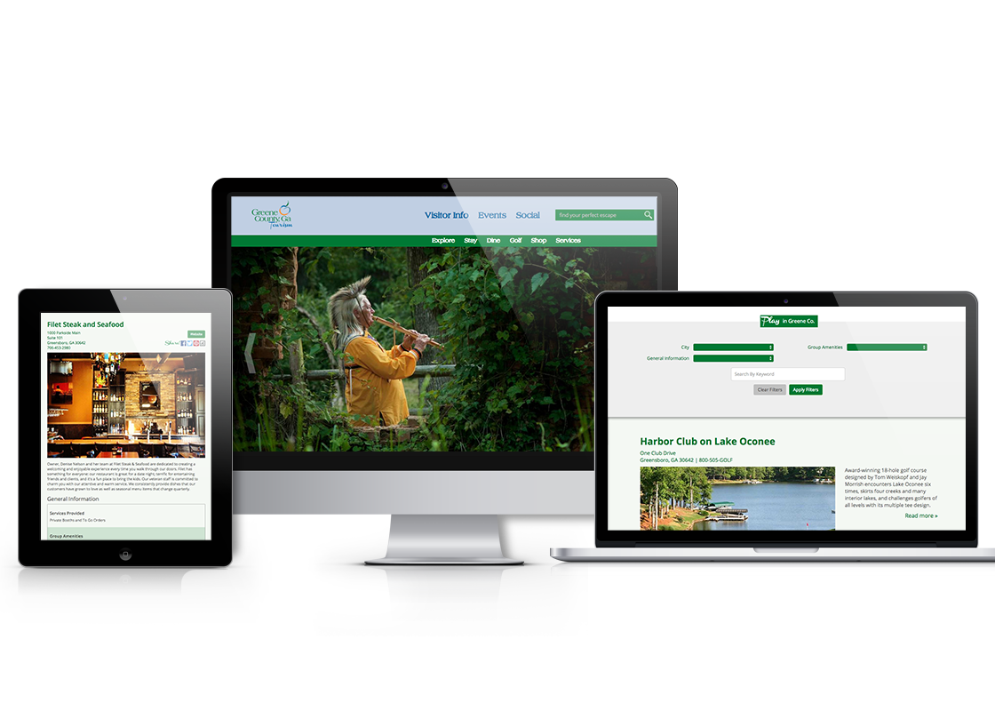 Greene County Tourism web design on iPad, laptop, and desktop screens